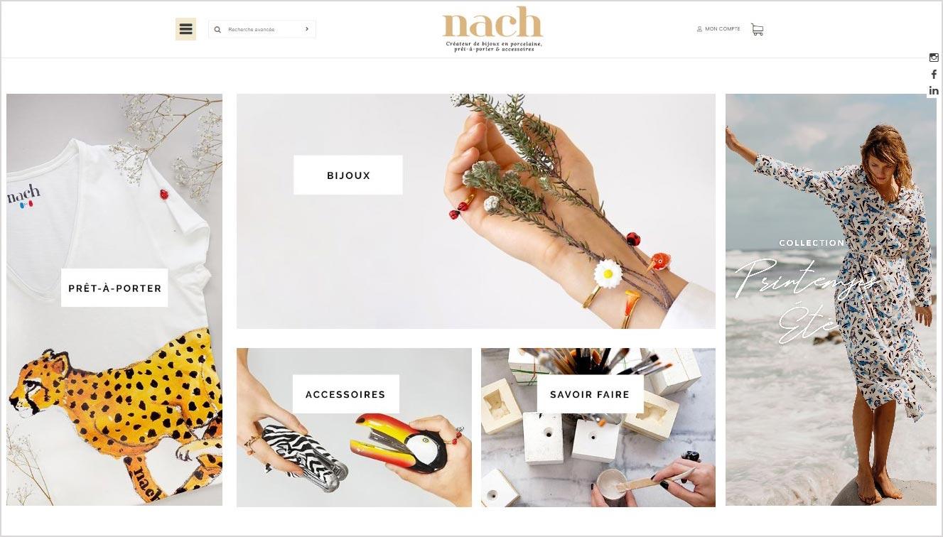 Autre exemple de realisation de boutique en ligne Nach Bijoux avec le theme de site Augo, presentant un bel affichage du 2 eme diaporama en page d'accueil