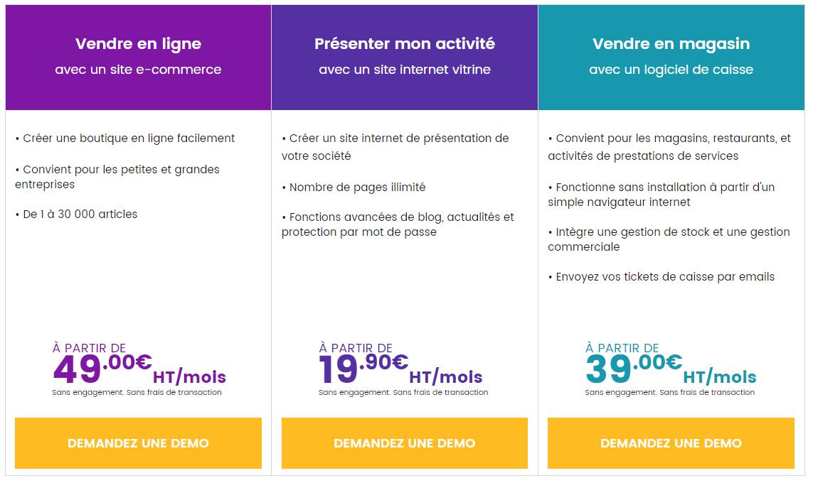 Tarifs et prix d'abonnement pour créer un site e commerce ou boutique en ligne