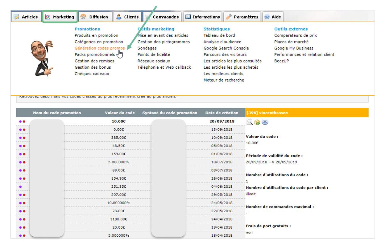 Creer des codes promos sur sa boutique en ligne ou site e commerce avec Shop Application