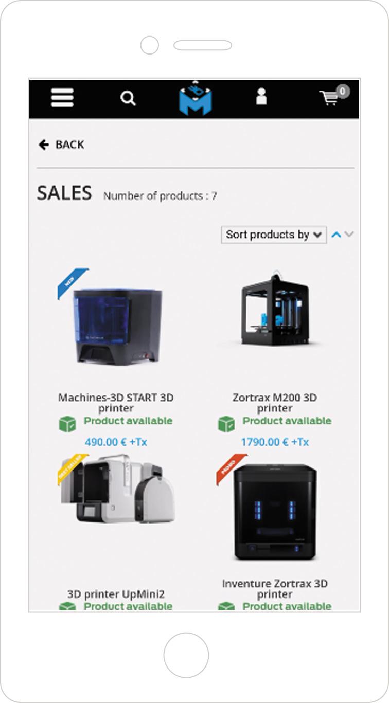 Pictogrammes de promotion sur la version mobile de boutique en ligne