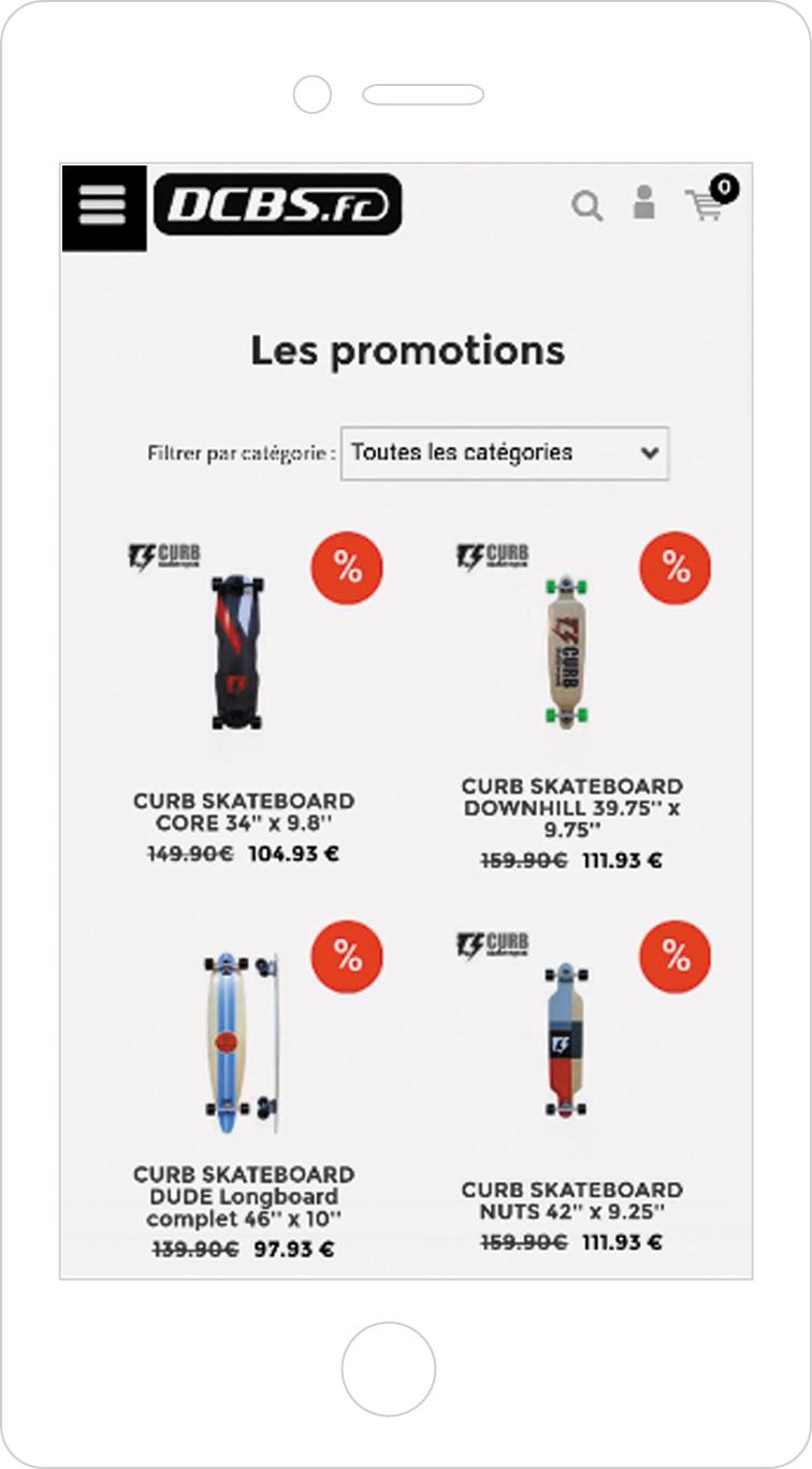 Articles en promotion sur la version mobile de votre boutique en ligne