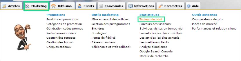 Tableau de bord e-commerce dans Shop Application pour les statistiques de votre site de vente ou site internet vitrine