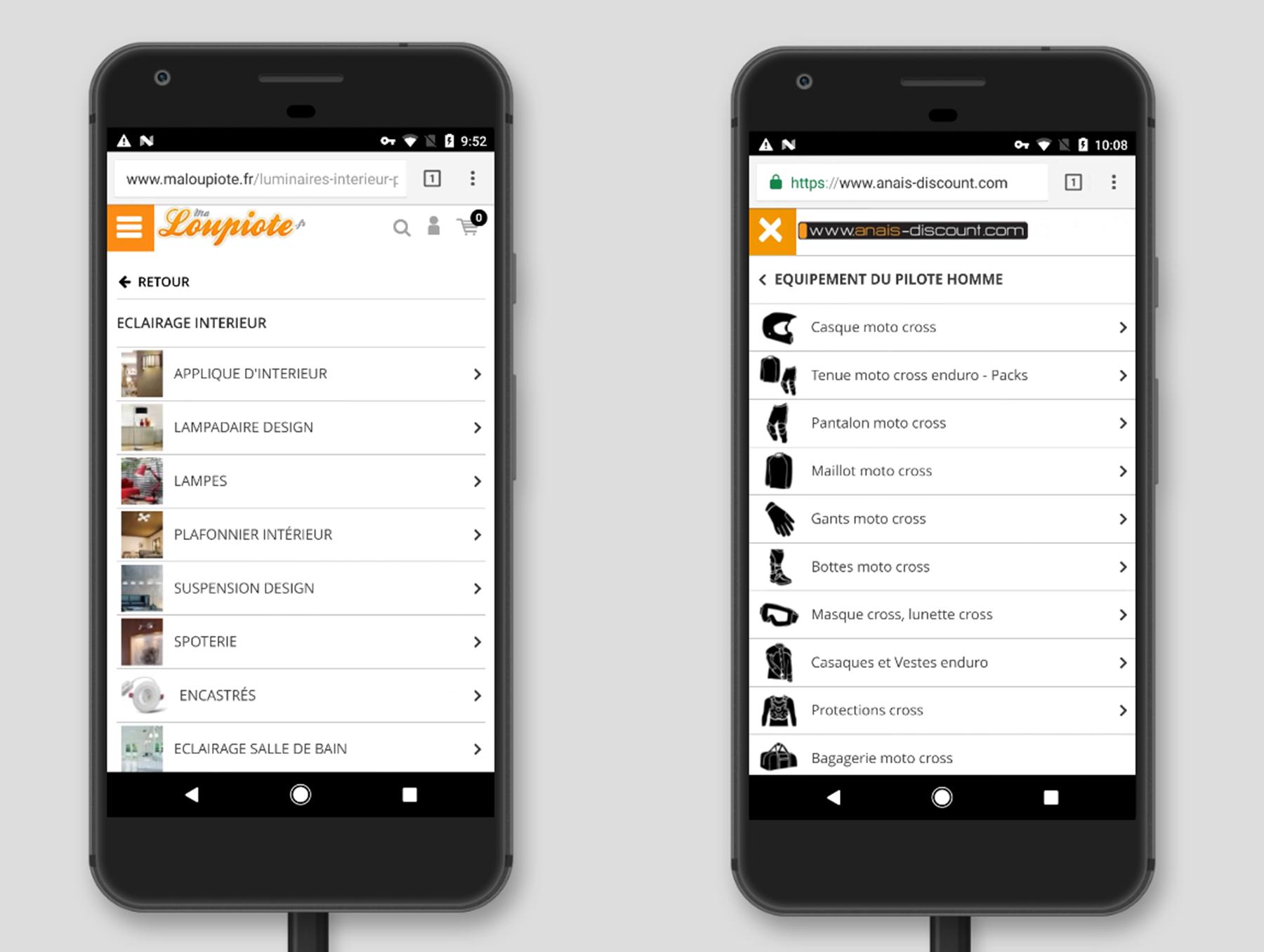 Affichage de pages de rubriques de site e-commerce sur version mobile