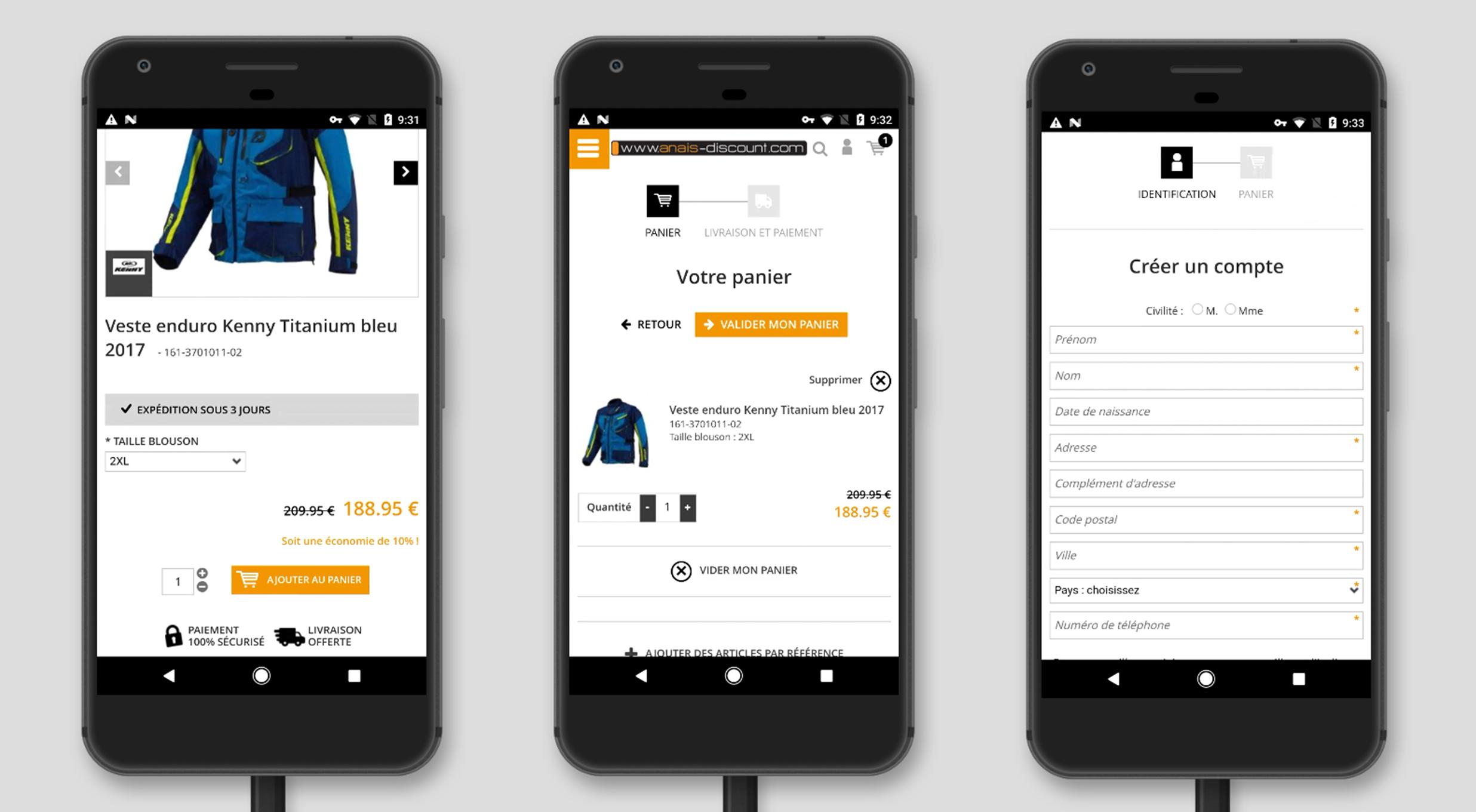 Version mobile pour site e commerce : Mise au panier et creation de compte