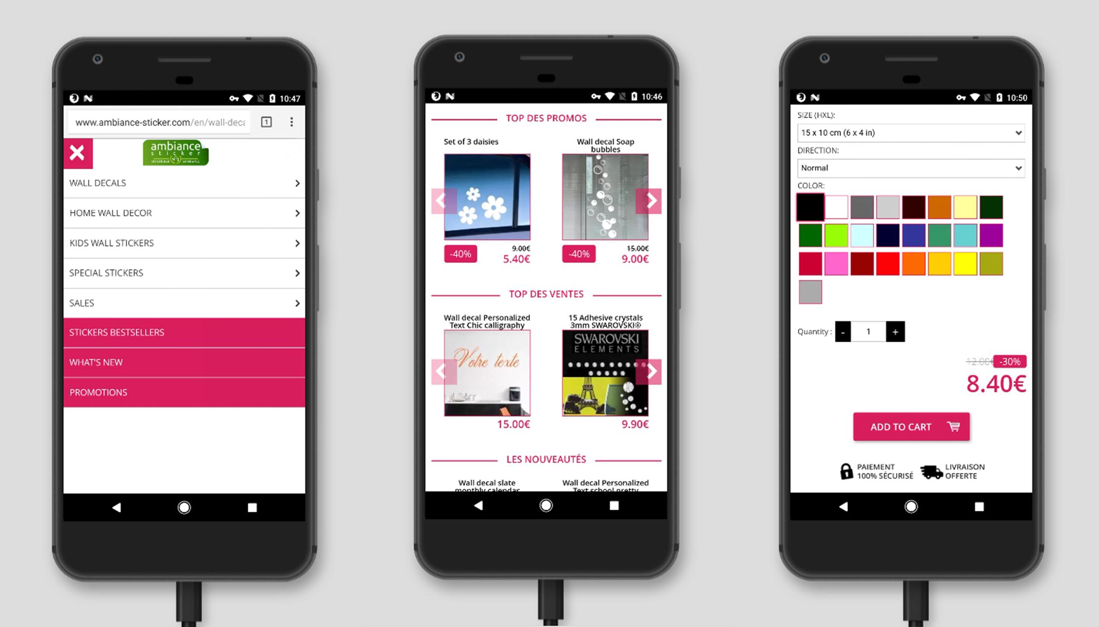 Version mobile pour site e-commerce : Menu deroulant avec Promo et top ventes en page d accueil