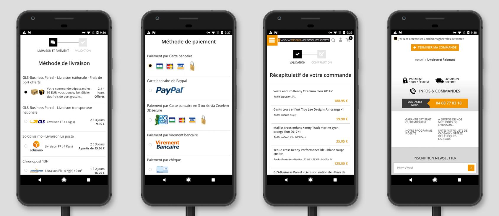 Version mobile site e-commerce pour le processus de commande : Methode de livraison et de paiement, recapitulatif