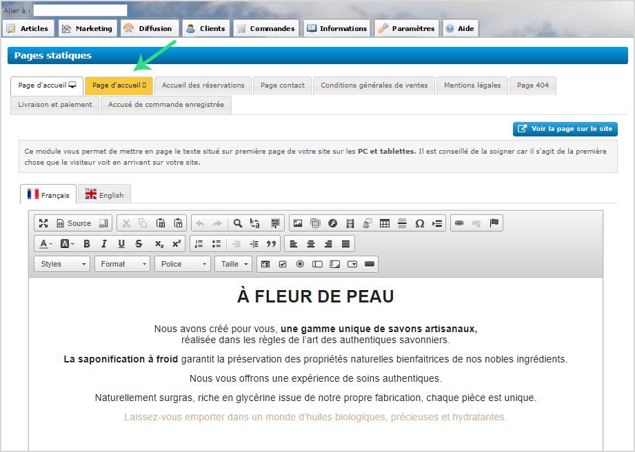 Page d accueil de version mobile a personnaliser pour site e-commerce ou site internet vitrine