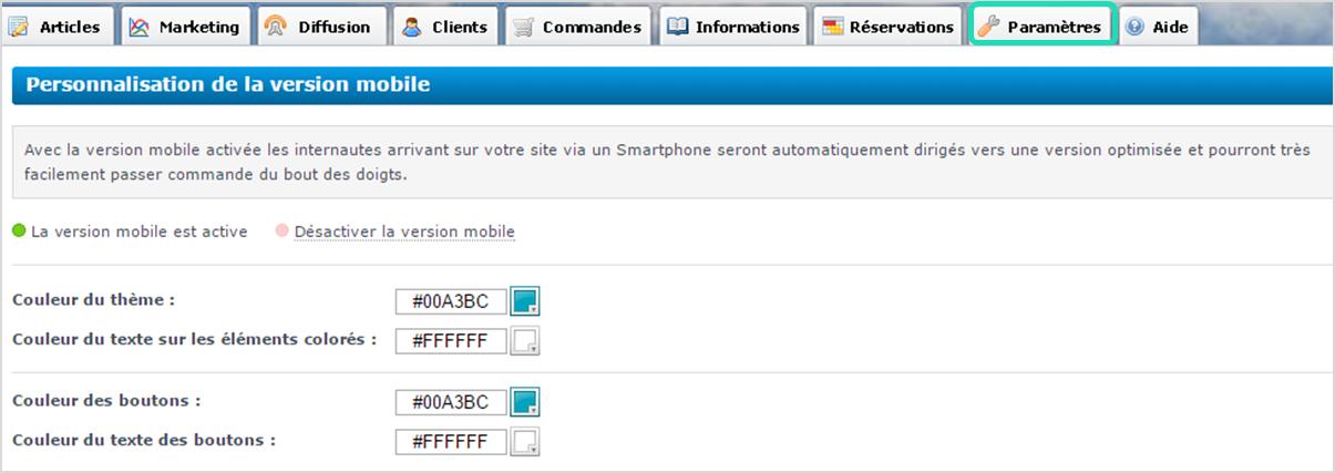 Version mobile : Personnalisation de logo et couleurs de site e-commerce ou site internet vitrine