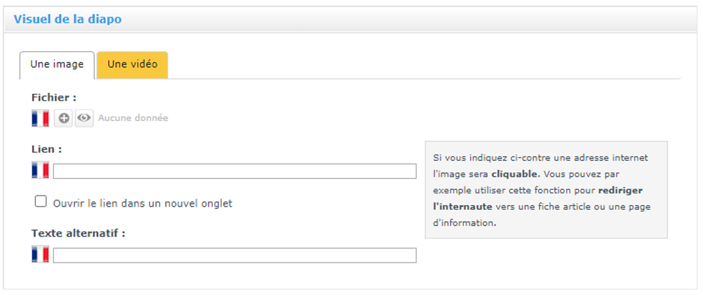 Choisir une image ou une video pour votre diaporama de page d'accueil de site internet