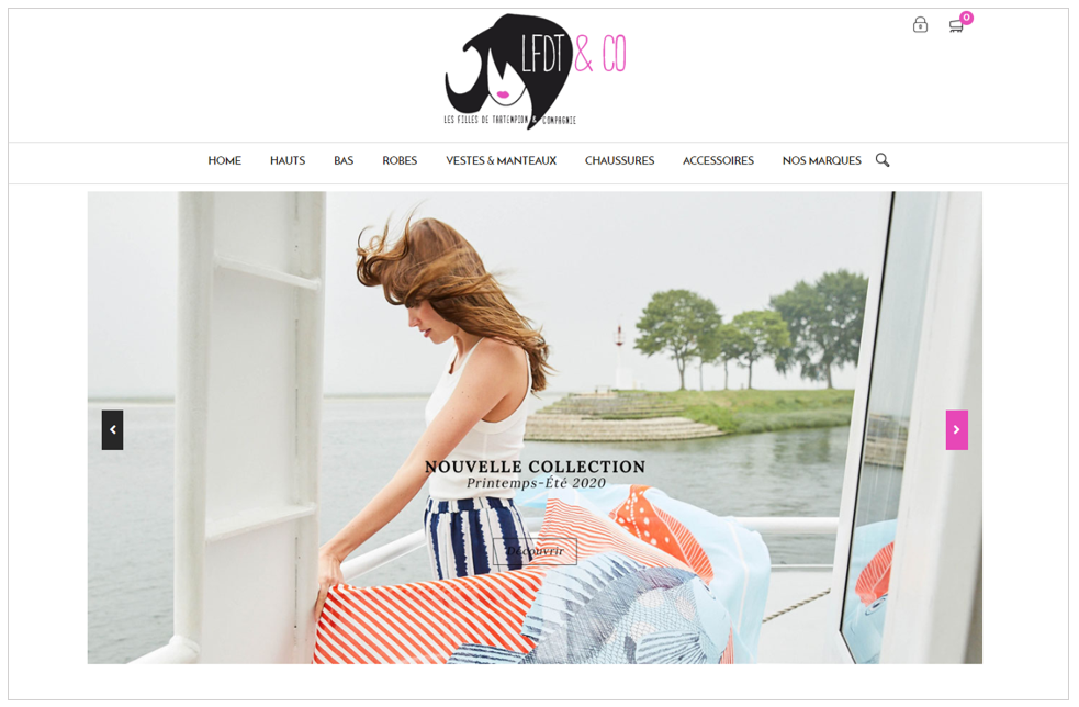 Exemple de visuel de diaporama pour le site de vente Les Filles de Tartempion