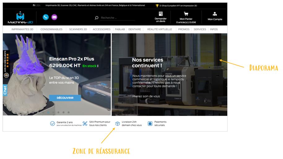 Exemple de site de vente presentant un diaporama et une zone de réassurance