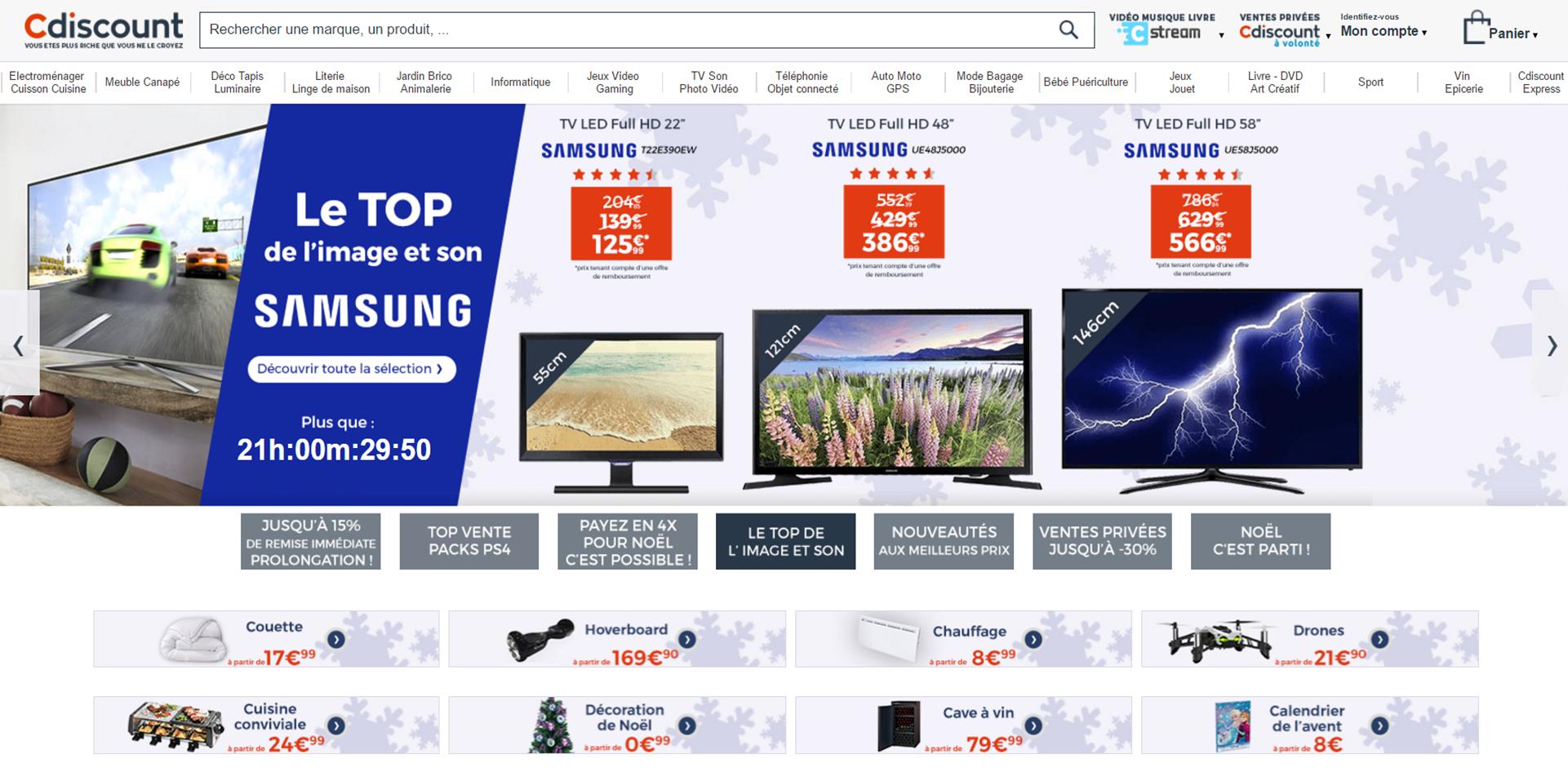 Exemple de site e commerce Cdiscount avec un visuel de diaporama aux couleurs de Noël