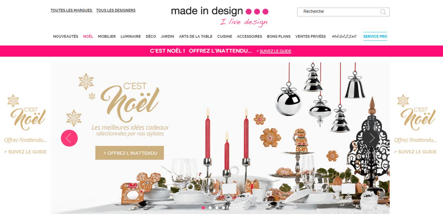 Exemple de site e commerce Made in Design avec un arriere-plan et visuels de diaporama aux couleurs de Noel