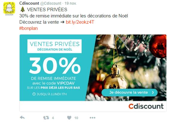 Offres promotionnelles avant Noël sur Facebook