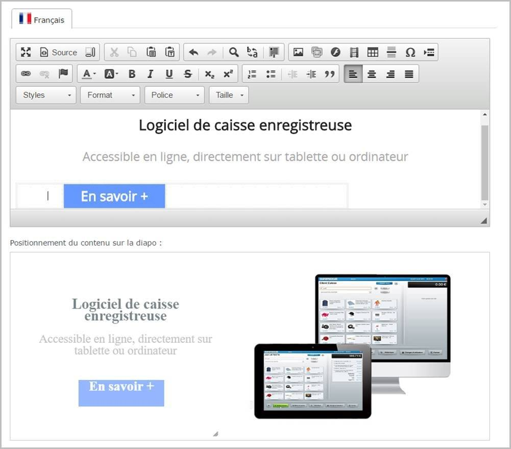 interface d'administration Shop Application - intégrer du texte sur votre diaporama