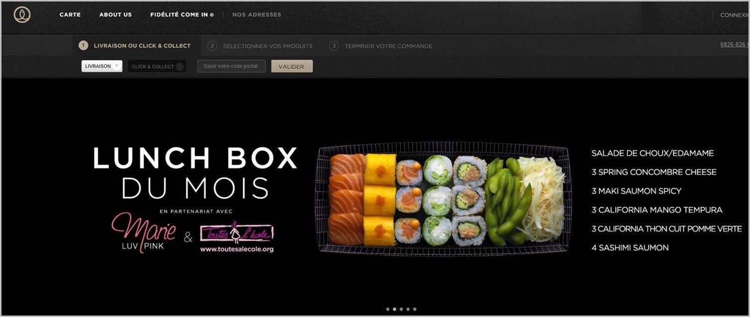 sushishop.fr - mise en avant de la lunch box du mois dans le module diaporama