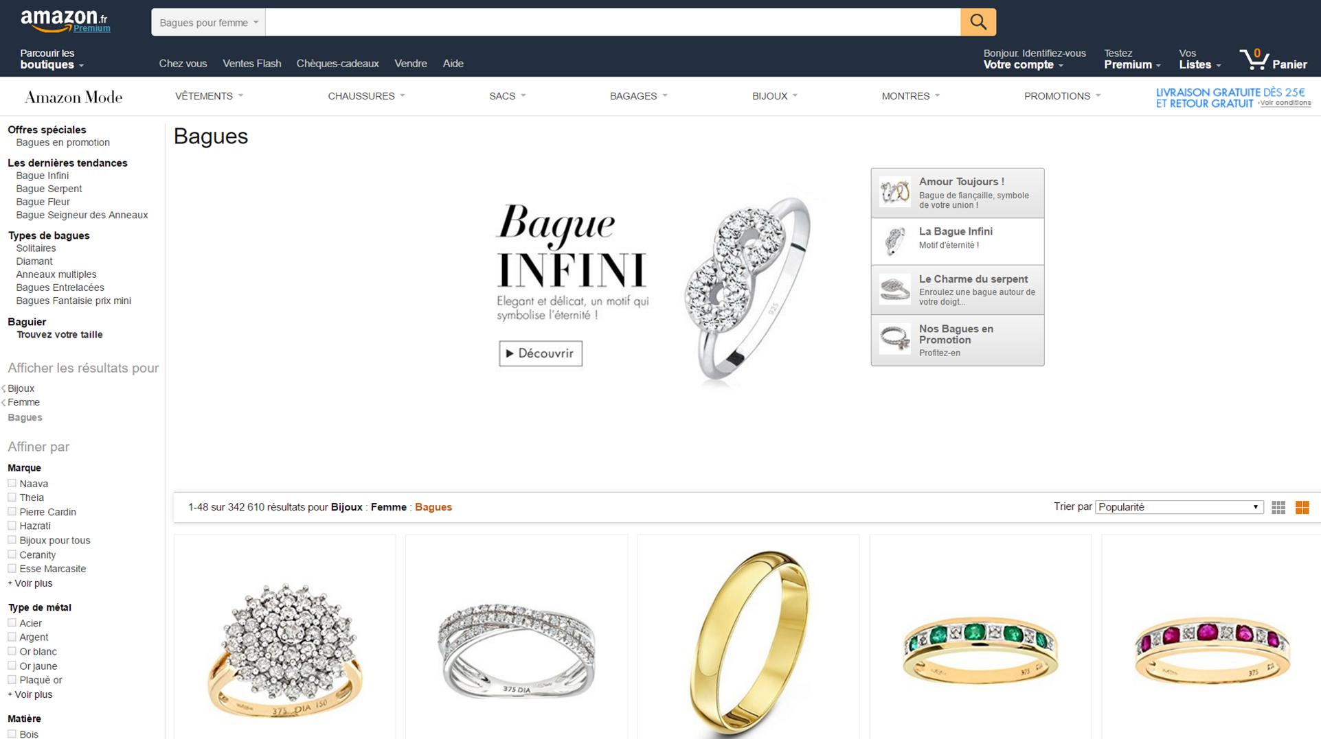 Page catégorie sur Amazon