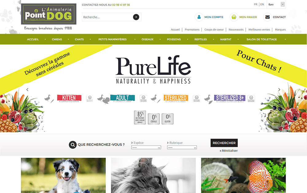 Point Dog - Page d'accueil - Création d'animalerie en ligne www.point-dog.fr avec la solution e-commerce Shop Application